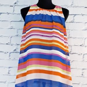 🆕 Vince Camuto Sleeveless A-Line Striped Blouse
